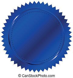 vector, ilustración, de, azul, sello
