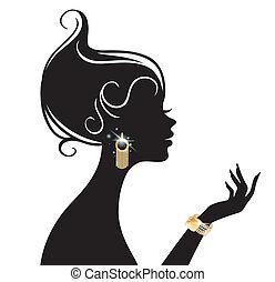 vector, ilustración, de, belleza, mujer