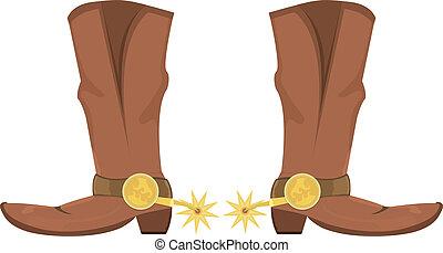 vector, ilustración, de, botas de vaquero, con, spoor