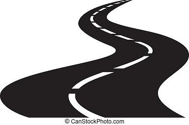 vector, ilustración, de, camino tortuoso