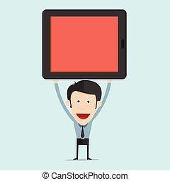 vector, ilustración, de, caricatura, con, tableta, plano, diseño