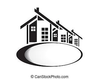 vector, ilustración, de, casas, blanco, plano de fondo