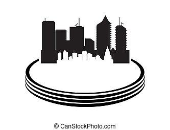 vector, ilustración, de, ciudad, blanco, plano de fondo