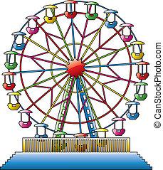 vector, ilustración, de, colorido, rueda de ferris