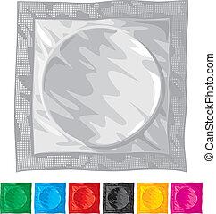 vector, ilustración, de, condón