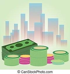 vector, ilustración, de, dólar, paquete, con, coins