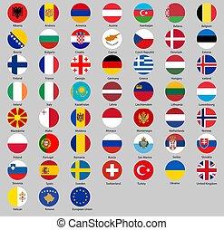 vector, ilustración, de, diferente, países, banderas, conjunto