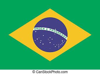 vector, ilustración, de, el, bandera, de, brasil