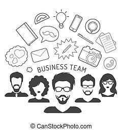 vector, ilustración, de, equipo negocio, dirección, en, plano, estilo