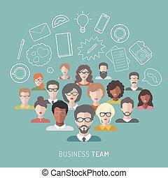 vector, ilustración, de, equipo negocio, dirección, en, plano, style.