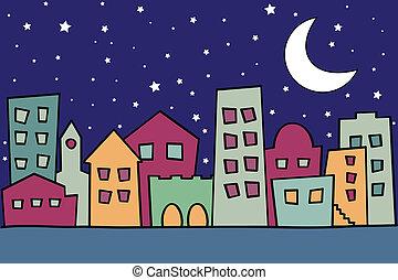 vector, ilustración, de, estilizado, noche, ciudad