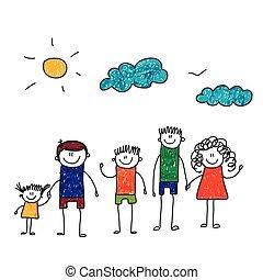 vector, ilustración, de, familia , vacation.