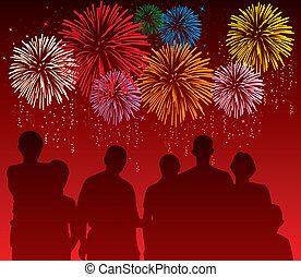 vector, ilustración, de, gente, mirar, colorido, fuegos artificiales