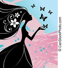 vector, ilustración, de, hermoso, niña, con, mariposa