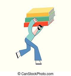 vector, ilustración, de, hombre, proceso de llevar, pila, de, grande, y, pesado, papel, documentos, o, books.