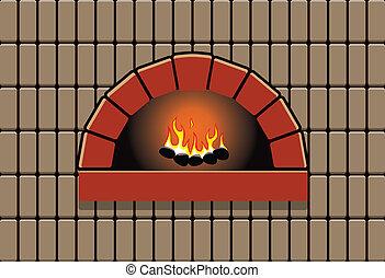vector, ilustración, de, horno, con, abrasador, fuego