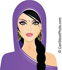 vector, ilustración, de, indio, mujer