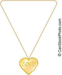 vector, ilustración, de, joyería del oro, en, el, forma, de, corazón, en una cadena