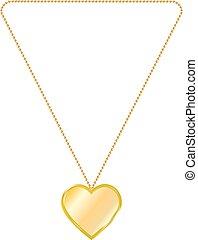 vector, ilustración, de, joyería del oro, en, el, forma, de, corazón