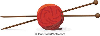 vector, ilustración, de, lana, pelota, y, tejido de punto,...