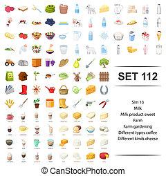 vector, ilustración, de, leche, producto, dulce, granja, jardinería, café, clase, queso, icono, set.