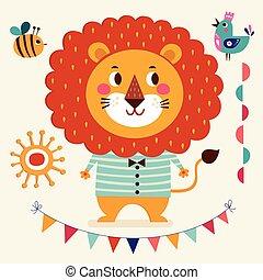 vector, ilustración, de, lindo, león