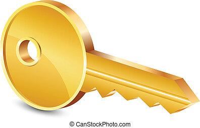 vector, ilustración, de, llave oro