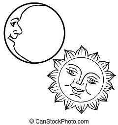 vector, ilustración, de, luna, y, sol, con, caras