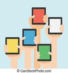 vector, ilustración, de, mano, con, tableta, plano, diseño