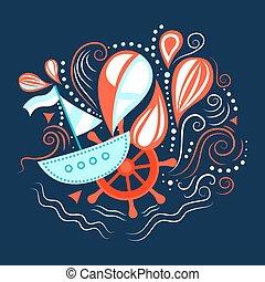 vector, ilustración, de, mar, life.