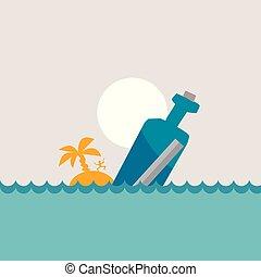 vector, ilustración, de, mensaje, botella, en, el, mar