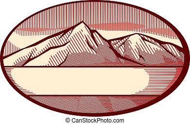vector, ilustración, de, montaña