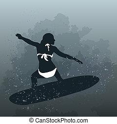 vector, ilustración, de, mujer, surfin