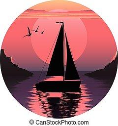 vector, ilustración, de, navegación, boat., vela, en, el, sea., vela, en, el, ocean., barco, en, sunset., barco, en, sunrise., vela, logo.