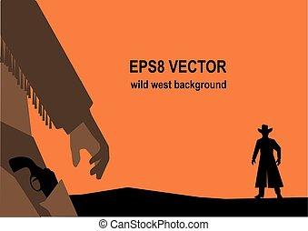 vector, ilustración, de, oeste viejo, tiroteo, o, duelo
