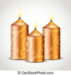 vector, ilustración, de, oro, florido, velas