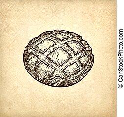 vector, ilustración, de, pan rústico
