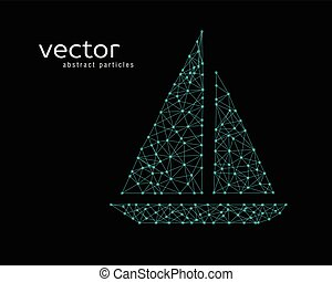 vector, ilustración, de, pesca, boat.
