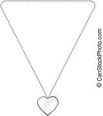 vector, ilustración, de, plata, jewelery, en, el, forma, de, corazón