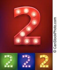 vector, ilustración, de, realista, viejo, lámpara, alfabeto, para, luz, board., vendimia, vegas, exposición, typography., número 2