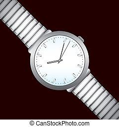 vector, ilustración, de, reloj, en, negro