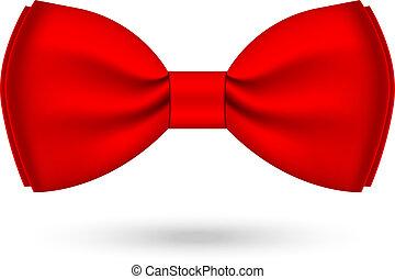 vector, ilustración, de, rojo, corbata de moño