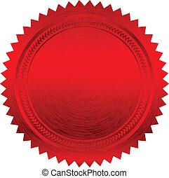 vector, ilustración, de, rojo, sello