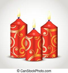 vector, ilustración, de, rojo, velas, con, oro, ornamento