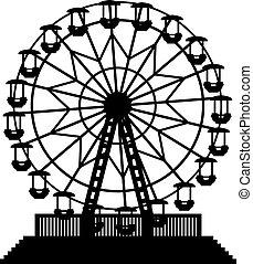 vector, ilustración, de, rueda de ferris