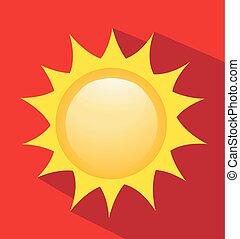 vector, ilustración, de, salida del sol, sol