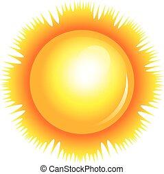 vector, ilustración, de, sol