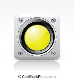 vector, ilustración, de, solo, aislado, amarillo, semáforo,...