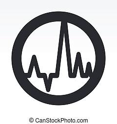 vector, ilustración, de, solo, aislado, audio, onda, icono