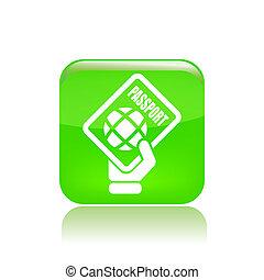 vector, ilustración, de, solo, aislado, pasaporte, icono